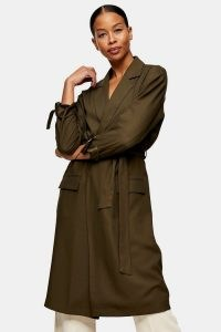 TOPSHOP Khaki Duster Coat ~ green tie detail coats