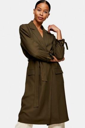TOPSHOP Khaki Duster Coat ~ green tie detail coats - flipped