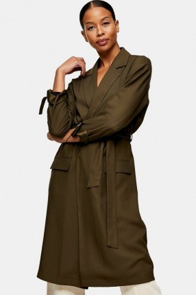 TOPSHOP Khaki Duster Coat ~ green tie detail coats