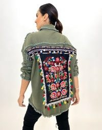 FOREVER UNIQUE Khaki Embroidered Shacket / floral shackets