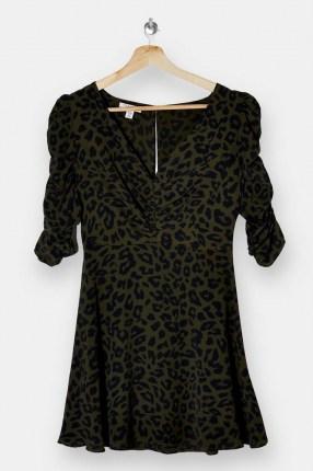 TOPSHOP Khaki Ruched Front Mini Dress - flipped