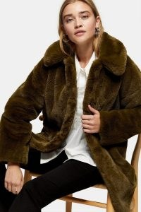 TOPSHOP Khaki Velvet Faux Fur Jacket / winter coats / outerwear