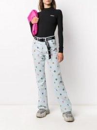 Kirin geometric-print bootcut jeans | printed light blue denim