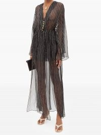 DUNDAS Lamé-striped silk-blend chiffon dress / shimmering sheer black event dresses