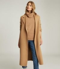REISS LEAH WOOL BLEND LONGLINE OVERCOAT CAMEL ~ classic light brown winter coat ~ wrap style tie waist coats
