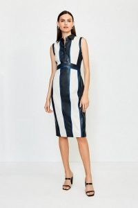 KAREN MILLEN Leather Colour Block Collared Dress / monochrome dresses