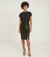 REISS LEENA VELVET PENCIL SKIRT GREEN / luxe metallic skirts
