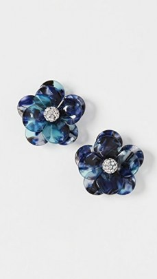 Lele Sadoughi Poppy Button Earrings Indigo Tortoise / blue floral earrings - flipped