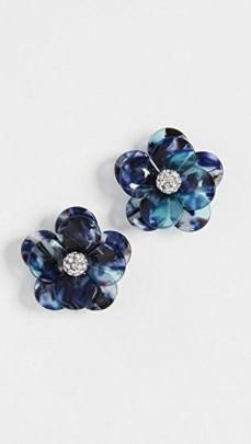 Lele Sadoughi Poppy Button Earrings Indigo Tortoise / blue floral earrings