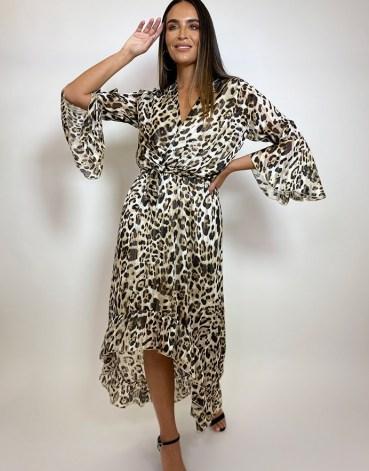 FOREVER UNIQUE Leopard Print Drop Hem Wrap Dress / floaty animal print dresses - flipped