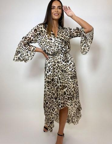 FOREVER UNIQUE Leopard Print Drop Hem Wrap Dress / floaty animal print dresses