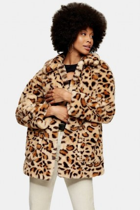 TOPSHOP Leopard Print Faux Fur Jacket ~ glamorous animal print coats ~ winter outerwear - flipped
