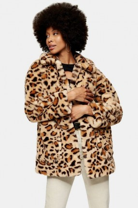 TOPSHOP Leopard Print Faux Fur Jacket ~ glamorous animal print coats ~ winter outerwear