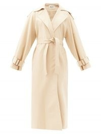 KHAITE Libby cotton trench coat | luxe waist tie coats | luxury cream outerwear