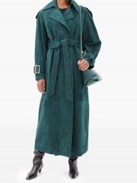 KHAITE Libby suede trench coat | luxe green tie waist coats