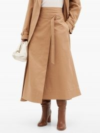 GABRIELA HEARST Linda cotton-drill belted wrap skirt | stylish contemporary skirts | camel brown fashion