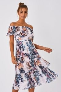 LITTLE MISTRESS KIMBERLY FLORAL-PRINT BARDOT MIDI DRESS / off the shoulder / tiered dresses
