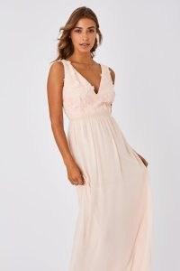 LITTLE MISTRESS MARISKA BRIDESMAID NUDE FLORAL APPLIQUE MAXI DRESS / bridesmaids dresses