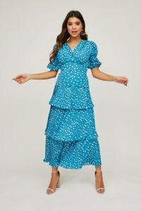 LITTLE MISTRESS PACE BLUE POLKA-DOT TIERED MIDI SKIRT CO-ORD / spot print skirts