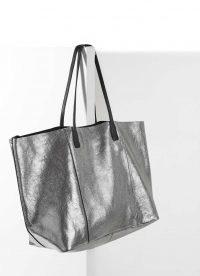 MINT VELVET Liza Metallic Tote Bag | silver leather shopper bags