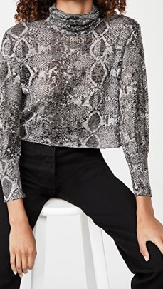 LNA Burnout Balloon Sleeve Top Charcoal Python - flipped