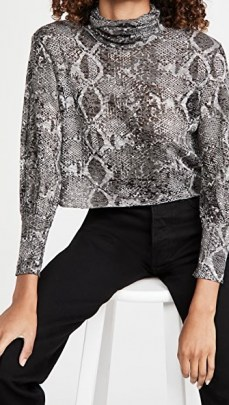 LNA Burnout Balloon Sleeve Top Charcoal Python