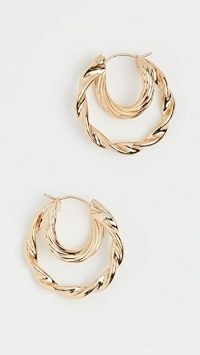 Loeffler Randall Holly Double Hoop Twisted Earrings / textured hoops