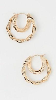Loeffler Randall Holly Double Hoop Twisted Earrings / textured hoops - flipped