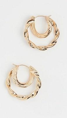 Loeffler Randall Holly Double Hoop Twisted Earrings / textured hoops