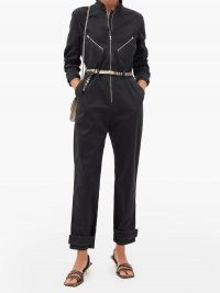 STELLA MCCARTNEY Logo-jacquard belt denim jumpsuit ~ casual black zip detail jumpsuits