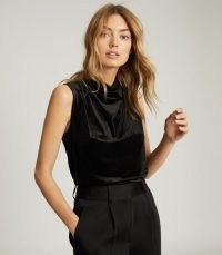 REISS LOLA HIGH NECK SLEEVELESS TOP BLACK ~ chic drape front tops