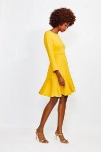 KAREN MILLEN Long Sleeve Ruffle Hem Top Stitch Dress Mustard / yellow flared hemline dresses