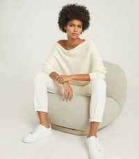 REISS LORNA ASYMMETRIC KNITTED TOP WHITE