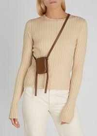 LUTZ MORRIS Norman mini brown leather cross-body bag ~ small contemporary crossbody bags