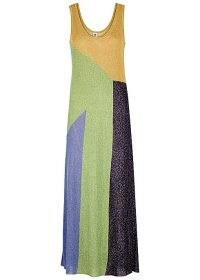 M MISSONI Colour-block metallic-weave maxi dress