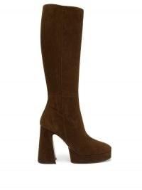 GUCCI Madame suede platform knee-high boots | brown retro platforms | vintage style winter footwear