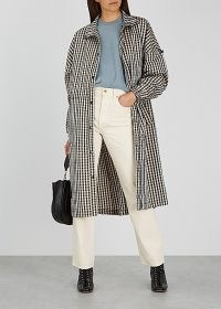 MADS NØRGAARD Chapella checked shell coat / funnel neck coats / autumn outerwear