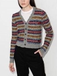 Maison Margiela Fair Isle Reverse-Knit Cardigan ~ multicoloured cardigans