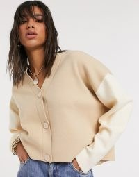 Mango colour block cardigan co-ord in brown   boxy camel colour block cardigans