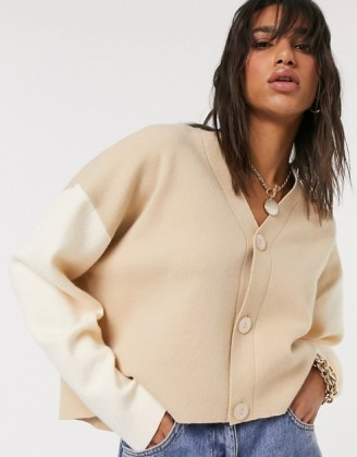 Mango colour block cardigan co-ord in brown | boxy camel colour block cardigans - flipped