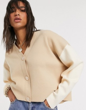 Mango colour block cardigan co-ord in brown | boxy camel colour block cardigans
