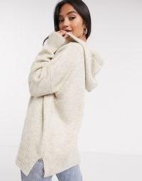 Mango knitted hoodie co-ord in oatmeal | longline knit hoodies | casual knitwear