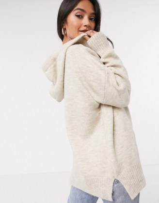 Mango knitted hoodie co-ord in oatmeal | longline knit hoodies | casual knitwear - flipped