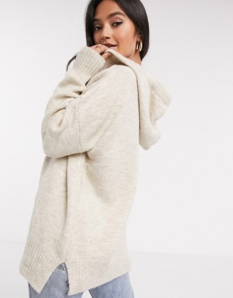 Mango knitted hoodie co-ord in oatmeal | longline knit hoodies | casual knitwear
