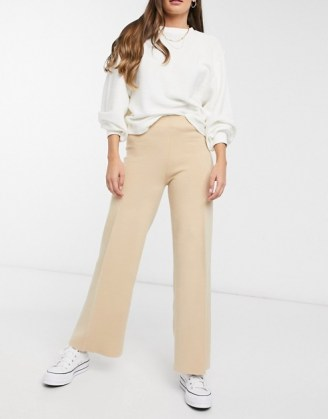 Mango knitted trouser co-ord in beige | neutral knit trousers - flipped