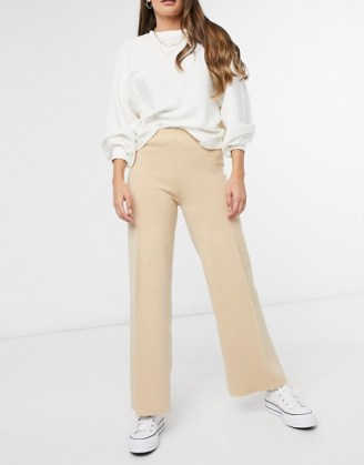 Mango knitted trouser co-ord in beige | neutral knit trousers
