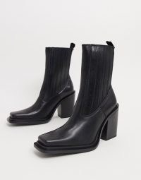 Mango square toe leather heeled boots in black / squared off toes / block heels