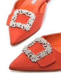 Manolo Blahnik Maysale buckle-toe mules ~ orange open back point toe flats
