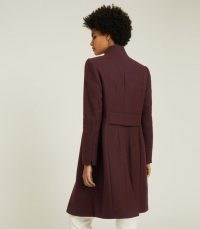 REISS MARCIE WOOL BLEND MID LENGTH COAT BERRY ~ smart slim fitting winter coats ~ deep rich shades for winter outerwear