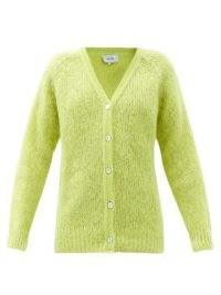 ERDEM Marcilly mohair-blend cardigan   fluffy cardi   chartreuse green V neck cardigans   designer knitwear